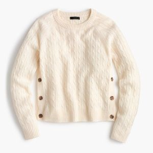 J. Crew Ivory Cable Knit Sweater with Buttons